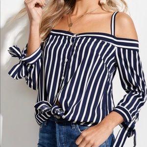 Striped Navy Open Shoulder Top
